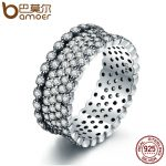 BAMOER 2018 New 100% 925 Sterling Silver Lavish Sparkling Ring, Clear CZ Finger Ring for Women Sterling Silver <b>Jewelry</b> PA7646