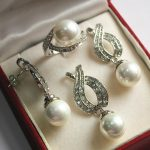 Women's Wedding Hot! noble new <b>jewelry</b> silver plated + 12mm white pearl pendant, earring, , ring set Natural silver-<b>jewelry</b>