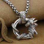 925 Sterling <b>Silver</b> Dragon Round Mens Biker Rocker Pendant 9H019A(<b>Necklace</b> 24inch)