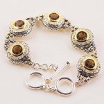 New Brown Crystal Zircon Gold Filled <b>Fashion</b> <b>Jewelry</b> Bracelet 8″ Free ship