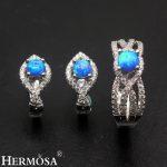 Amazing Grace Wedding Jewelry Blue Fire Australian Opal 925 Sterling <b>Silver</b> <b>Earrings</b> Ring Sets Size 8 Pretty Women Party Gift
