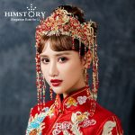 HIMSTORY Chinese Style Luxurious Red Pearl TAssel <b>Wedding</b> Headdress Earrings Phonix Crown Brides Hairwear Hair <b>Jewelry</b> Accessory