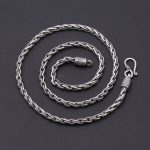 Solid 925 <b>Sterling</b> <b>Silver</b> Chain Necklace Men Twisted Link Weave Dia 4mm Thick Chain 100% 925 <b>Sterling</b> <b>Silver</b> <b>Jewelry</b> Men Vintage