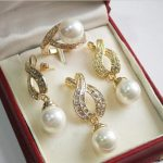 Prett Lovely Women's Wedding shipping>>>>>beautiful 12mm White Shell Pearl Pendant Necklace Earrings rings <b>jewelry</b> set 18″