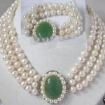 Genuine freshwater white pearl necklace and blue <b>earrings</b> >>> women jewerly Free shipping