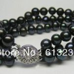 hot free Shipping new 2014 Fashion Style diy 3 ROWS 7-8MM Black Akoya Cultured Pearl Bracelet 7.5″ beads <b>jewelry</b> <b>making</b> YE2087