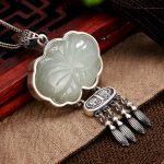 Natural Gemstone White Jade Pendant Engraved Butterfly 925 <b>Sterling</b> <b>Silver</b> Sweater Chain Pendants For Women Fine <b>Jewelry</b>
