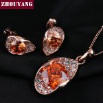 ZYS026 Orange Crystal Rose Gold Color Noble Eaegance <b>Jewelry</b> Necklace Earring Set Made with Austrian SWA Element Crystals