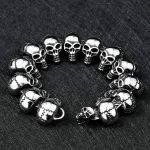 Men Skull <b>Bracelets</b> Stainless Steel Skulls Head Chain Bangle <b>Bracelet</b> Gothic Punk Biker Jewelry <b>Silver</b> Pulseira Calavera
