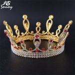 Snuoy Women Pageant Crowns King/Queen Gold <b>Silver</b> Red Full Round Crown Tiara Vintage Men Hair <b>Jewelry</b> Wedding Accessories