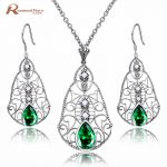 Luxury 925 <b>Silver</b> Green Stone Crystal Wedding Pearl Jewelry Set for Women Brides Pendant <b>Earrings</b> Set Bijoux Kits Mariage Femmes