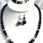 Women's Wedding Exquisite black gem necklace earrings bracelets CZ set>AAA GP Bridal wide watch wi moda real silver mujer