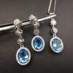 Natural blue topaz gem jewelry sets natural gemstone pendant <b>Earrings</b> 925 <b>silver</b> Luxury pillow round women fine party jewelry