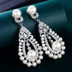 Bella Fashion Elegant Teardrop Bridal Dangle Earrings Rhinestone Simulated Pearl Earrings For Women <b>Wedding</b> Party <b>Jewelry</b> Gift