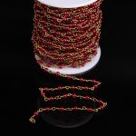 Smooth Red Malaysian Jade 4mm Round beads Rosary Chain,Natural Jasper beads Link Brass Wire Wrapped Chain Bracelet <b>Necklaces</b>