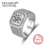 YHAMNI Original 925 Sterling Silver Fashion Rings Luxury <b>Wedding</b> Band Rings Big Full CZ Zircon For Men <b>Jewelry</b> Gift JZ215