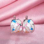 RainMarch Enamel Silver Engagement Stud Earrings For Women 925 Sterling Silver Earring <b>Handmade</b> Enamel Party <b>Jewelry</b>