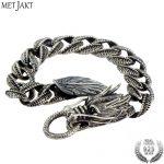 MetJakt Domineering Men's Punk Dragon <b>Bracelet</b> Solid 925 Sterling <b>Silver</b> Dragonscale <b>Bracelet</b> for Men & 1.5cm Width,20cm