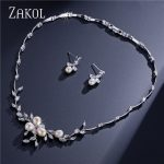 ZAKOL Top Quality Cubic Zirconia Wedding <b>Jewelry</b> Set Romantic Imitation Pearl Flower <b>Jewelry</b> For Women FSSP297