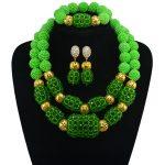 2017 New Arrival Green Nigerian Plated Gold <b>Jewelry</b> Sets Crystal Beads <b>Necklace</b> Set Nigerian African Wedding Beads <b>Jewelry</b>