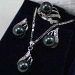 black shell pearl crystal Pendant <b>necklace</b> earring ring <b>jewelry</b> set >>>stone watch wholesale Quartz stone CZ crystal