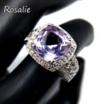 Rosalie,Solid design ring with natural brazil amethyst cushion 10mm 5ct gemstone fine <b>jewelry</b> in 925 sterling <b>silver</b> for women