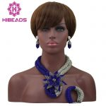 Latest Royal Blue/<b>Silver</b> Beauty Jewelry Set African Bride Crystal Floral Costume Necklace Set Flower Brooch Free Shipping ABL578