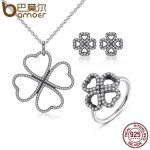 BAMOER 100% 925 Sterling <b>Silver</b> Jewelry Set Heart-Shaped Petals of Love Jewelry Sets Sterling <b>Silver</b> Jewelry ZHS020
