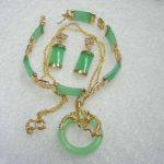 Prett Lovely Women's Wedding Noblest Green gem GP Bracelet Pendant Necklace Earring Set 5.23 silver <b>jewelry</b> boucle