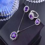 New purple crystal set S925 <b>silver</b> inlaid color treasure Jewelry Ring <b>Earrings</b> Necklace Pendant