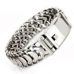 19mm Wide Masculine Style Stainless Steel Bracelet&Bangle Braid Link <b>Silver</b> Rock Punk Charm Bracelet For Men Fashion <b>Jewelry</b>