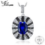 JewelryPalace Luxury 6ct Blue Created Sapphire Black Spinel Solid 925 Sterling <b>Silver</b> Pendant <b>Necklace</b> 45cm Chain <b>Necklace</b>