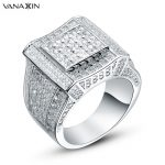 VANAXIN 925 <b>Sterling</b> <b>Silver</b> Rings Gold Color Hip Hop Iced AAA Cubic Zirconia Luxury Ring Mens Fashion Finger Bling Bling <b>Jewelry</b>