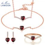 LAMOON Classic Fine Jewelry Sets for Women 100% Natural Heart Love Red Garnet 925 Sterling <b>Silver</b> Jewelry <b>Earring</b> Ring V004-1