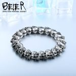 2017 New Cool Punk Adjustable Skull Bracelet For Man 316 Stainless Steel Man's High Quality <b>Jewelry</b> BC8-027 Dropshipping