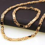 New Arrive Mens Gold Color Stainless Steel <b>Handmade</b> Flat Byzantine Necklace Bracelet Set 6mm 8.66″+21.6″