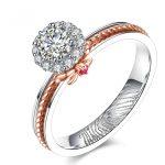 18K Two-Tone Gold GIA Diamond Women Ring Finger Print Engraving <b>Handmade</b> Wedding Band 0.31+0.12ct Diamond Engagement <b>Jewelry</b>