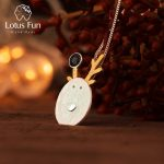 Lotus Fun Real 925 Sterling <b>Silver</b> Natural Handmade Fine Jewelry Christmas Joys Cute Reindeer Pendant without <b>Necklace</b> Best Gift