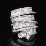Luxury Pave set full Square T Simulated Diamond gemstone ring <b>jewelry</b> Women S925 Sterling <b>silver</b> Cocktail Band Rings size 5-10