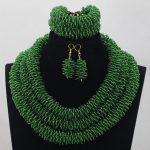 Green Nigerian Wedding Jewellery Fashionable <b>Handmade</b> Rope Chain Seed Crystal African Beads <b>Jewelry</b> Sets Free Shipping ABH100