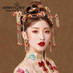 HIMSTORY Gorgeous Phoenix Coronet <b>Wedding</b> Headpieces <b>Jewelry</b> Retro Chinese Gold Fish Designs Princess Bridal Hair Accessories