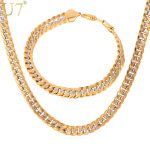 U7 Brand Necklace And Bracelet Set Two Tone Gold Color Hip Hop Cuban Link Chain <b>Jewelry</b> Set For Men Gift S566