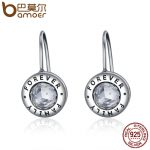 BAMOER Genuine 925 Sterling Silver Family Forever CZ Drop Earrings Women <b>Fashion</b> <b>Fashion</b> Earrings Silver <b>Jewelry</b> Brincos SCE219