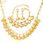 U7 Brand Elephant Cute Charm Bracelet Earring & <b>Necklace</b> Set Lucky Animal Gold Color <b>Jewelry</b> Set For Women Gift S849
