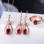 Color jewelry Natural Garnet Necklace <b>Earrings</b> Ring Pendant Jewelry Set Jewelry 925 <b>silver</b> inlaid jewelry