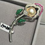 Baroque Natural freshwater pearl flower brooch pin romantic fashion women <b>jewelry</b> 925 <b>sterling</b> <b>silver</b> with cubic zircon