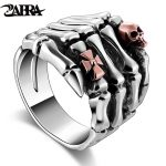 Real 925 Sterling Silver Rings For Men Skull Hand With Skull Head Vintage Punk Rock Gothic Bague Paw Rings Fashion Fine <b>Jewelry</b>