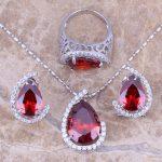 Red Garnet White CZ Silver <b>Jewelry</b> Sets Earrings Pendant Ring For Women Size 6 / 7 / 8 / 9 / 10 S0002