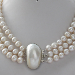 <b>Wedding</b> Woman <b>Jewelry</b> AAA 9-10MM 3 Rows White Pearl Natural Freshwater Pearl Necklace Handmade Free Shipping