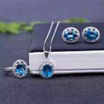 Topaz Ring Pendant <b>Earrings</b> Set beautifully struck three piece S925 <b>silver</b> free shipping
